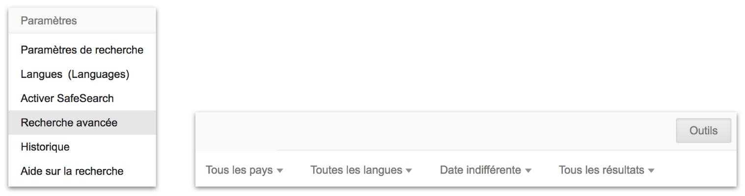 Capture d'écran sur la recherche avancée du moteur de recherche Google Search