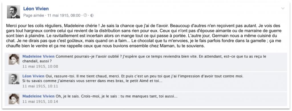 Publication facebook pour simuler les amis de Léon à l'aide d'une image