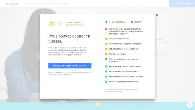 Détail du score de vitesse site mobile avec testmysite de Google