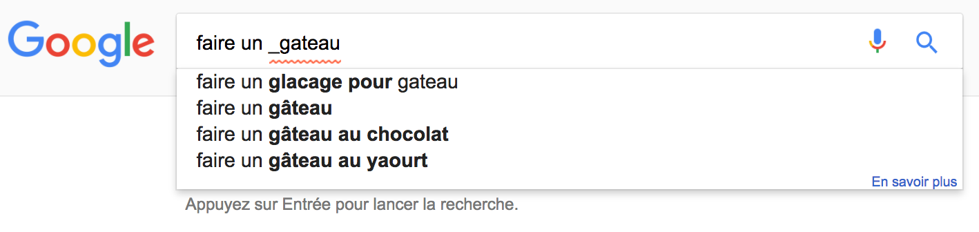 capture d ecran de google suggest avec variation