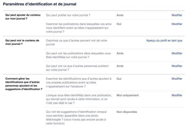 paramètres journal et identification facebook