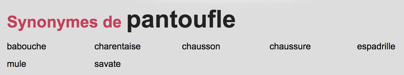 synonyme de pantoufle