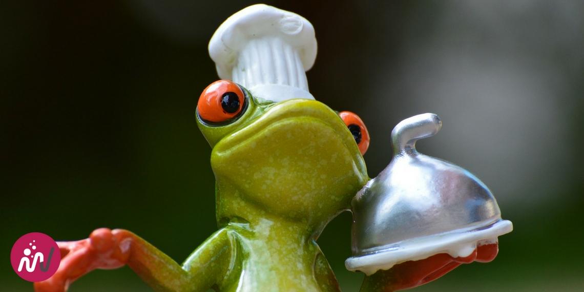 Chef grenouille qui présente sa recette